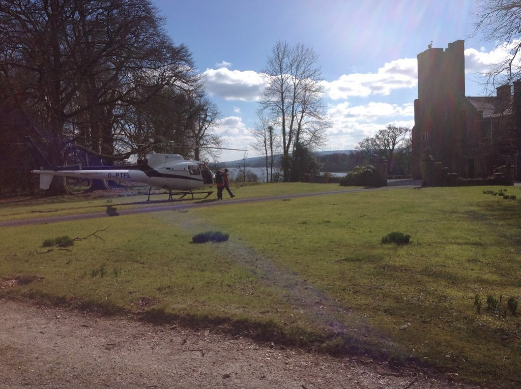Helicopter landing at Belle Isle Castle