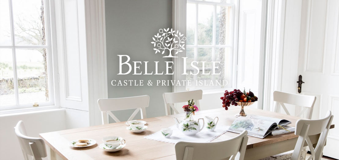 The dining room of Belle Isle's Hamilton Wing with a view of Lough Erne