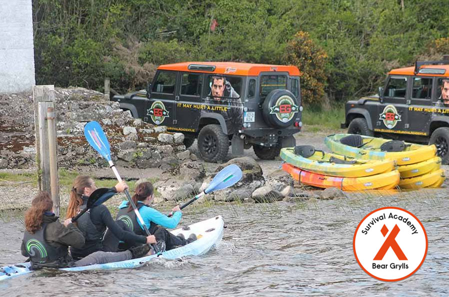 Bear Grylls Island Survival Academy Landrovers on the shore of Killygowan Island in Fermanagh