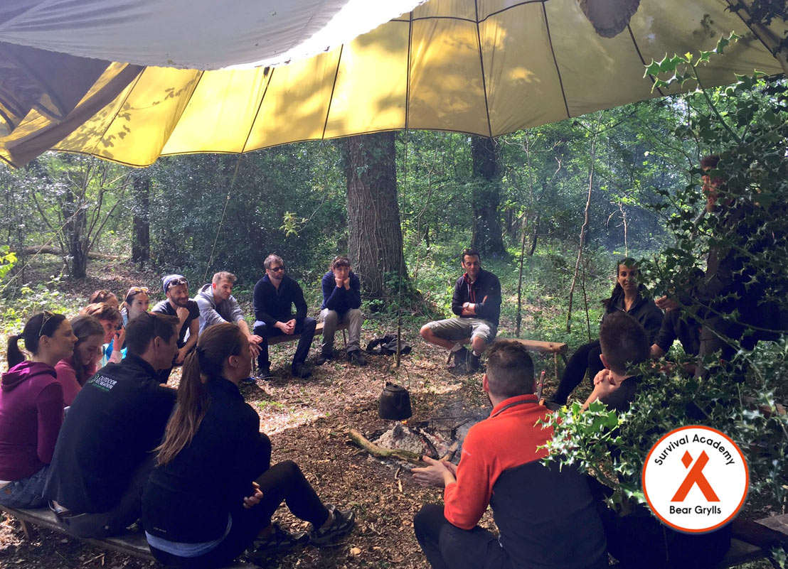 Participants under canvas at the Bear Grylls Island Survival Academy, Belle Isle