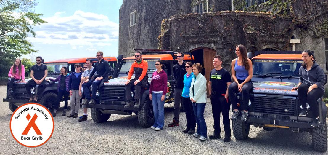 Bear Grylls Island Survival Academy participants outside Belle Isle Castle