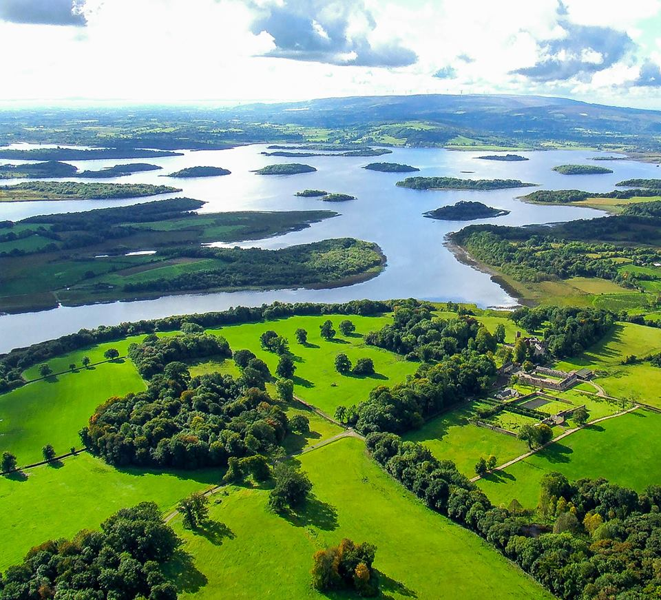 Aerial view of Belle Isle Estate in Lower Lough Erne, Fermanagh