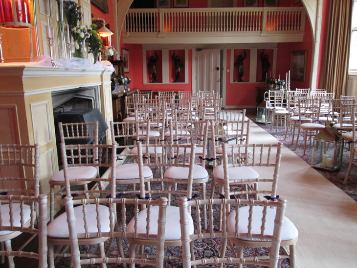 Hall at Belle Isle Castle set up for the wedding ceremony