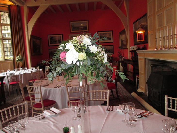 Tables set for the first Spring Wedding in Belle Isle Castle