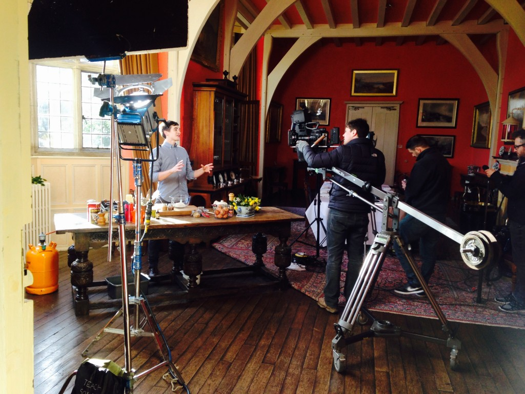 Donal filming on set