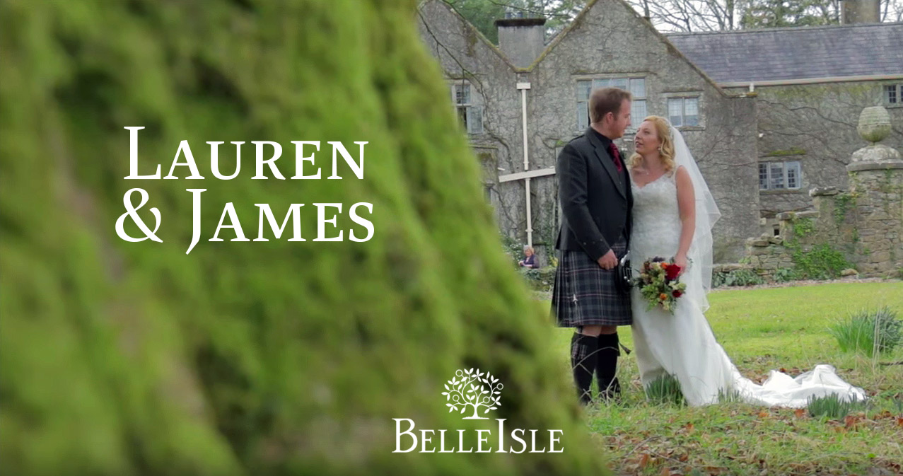 Lauren and James' March wedding at Belle Isle Castle