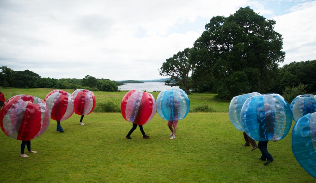 Zorbing with Lough Erne in the background