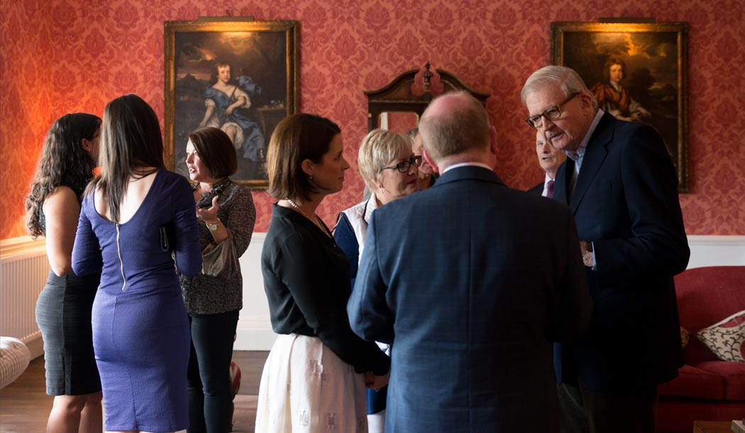 Dinner hosted by His Grace the Duke of Abercorn in the Red Lounge at Belle Isle Castle